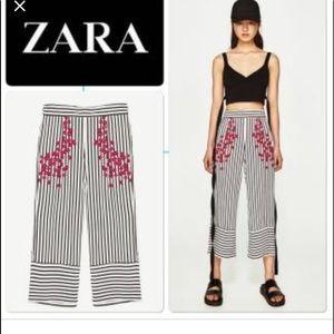 Zara High Rise Wide Leg Stripe Crop Floral Pants